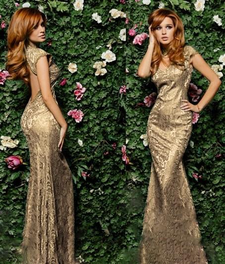 fa8decafb68 Купить золотое вечернее платье в пол с открытой спиной модель Ксения ...
