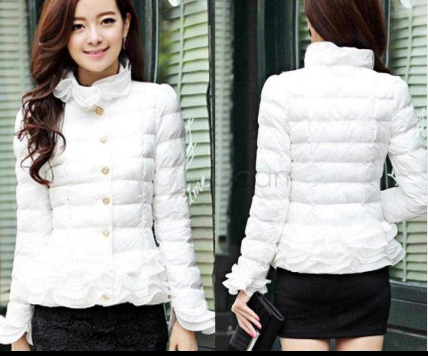 e5b1967049c Заказать женскую белую куртку с рюшами на воротнике не дорого