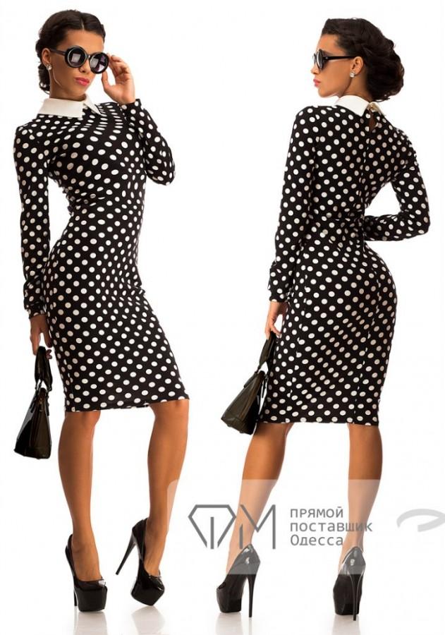 b6847c88840 Заказать черное трикотажное миди-платье в белый горошек по выгодной цене