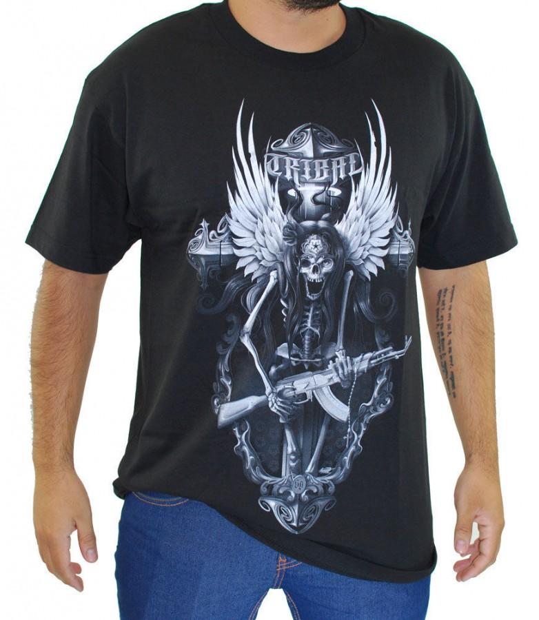 Заказать мужскую футболку Tribal Gear скелет с автоматом по ... b278323fc90f7