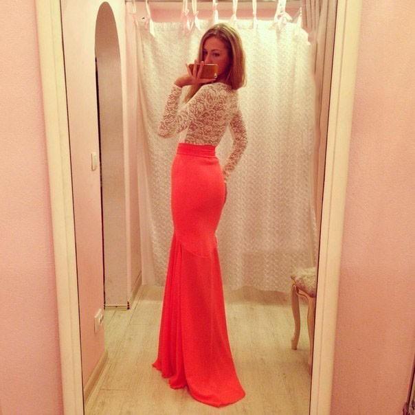 20845364747 Заказать женское платье верх белое кружево низ розовая длинная юбка ...