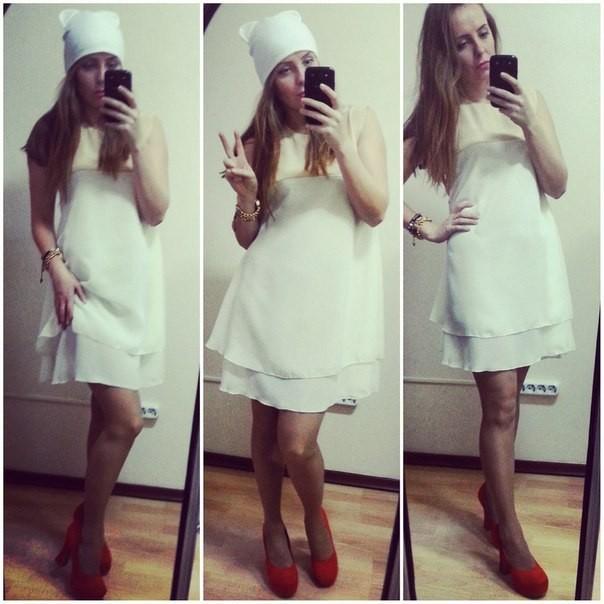 Купить платье белое трапецией
