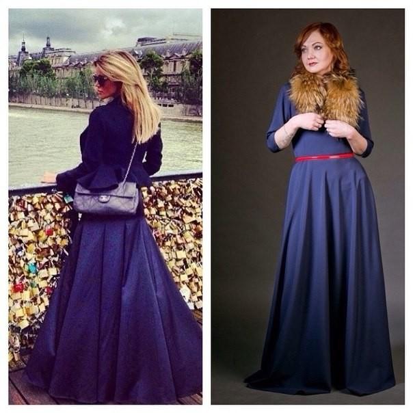 Длинное платье с рукавами синего цвета