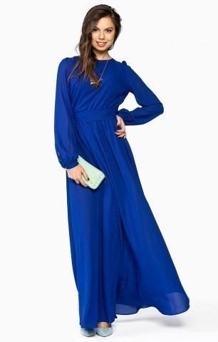 Темно синее платье в пол с рукавами