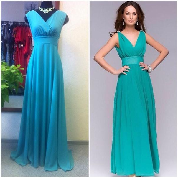 Платье длинное с декольте