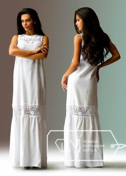 a549a129610 Купить белый прямого кроя длинный сарафан с прошвой по доступной цене