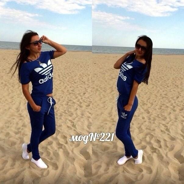 9a67013931b стильный женский спортивный костюм ADIDAS синего цвета с накатом весна-лето  2016