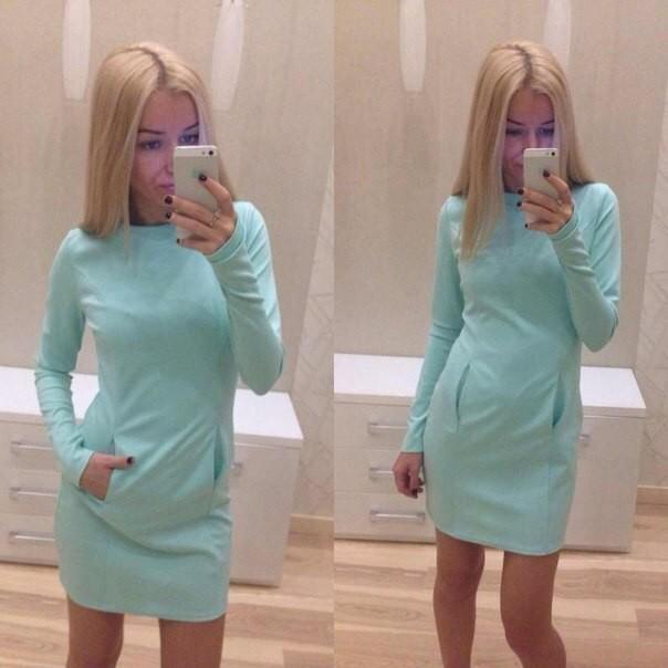 Платье прямое мятного цвета