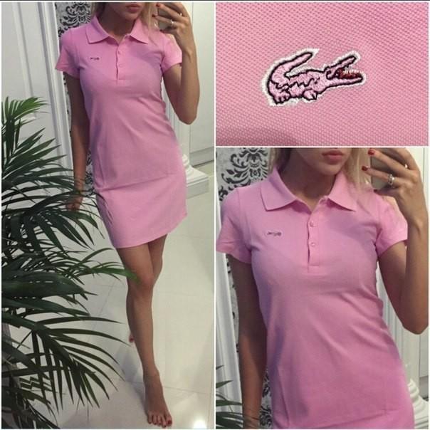 Купить однотонное розовое платье поло LACOSTE прямого кроя по ... 32295212ee5