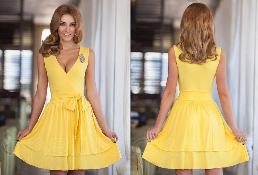 58696d485cc желтое легкое коктейльное платье с бантиком на поясе новая модель лето 2016