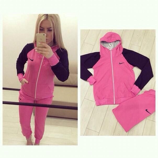 86071e1d Купить женский спортивный костюм nike розового цвета с черными ...