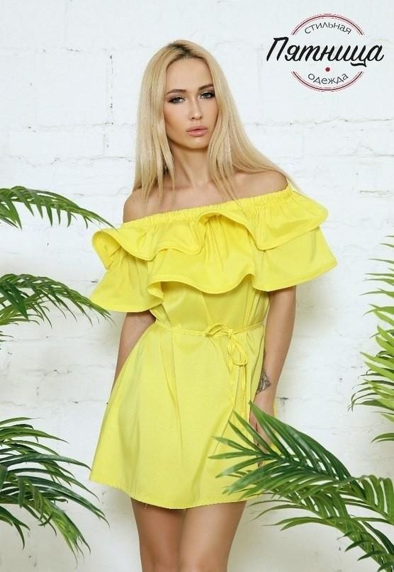 Летнее платье желтое фото