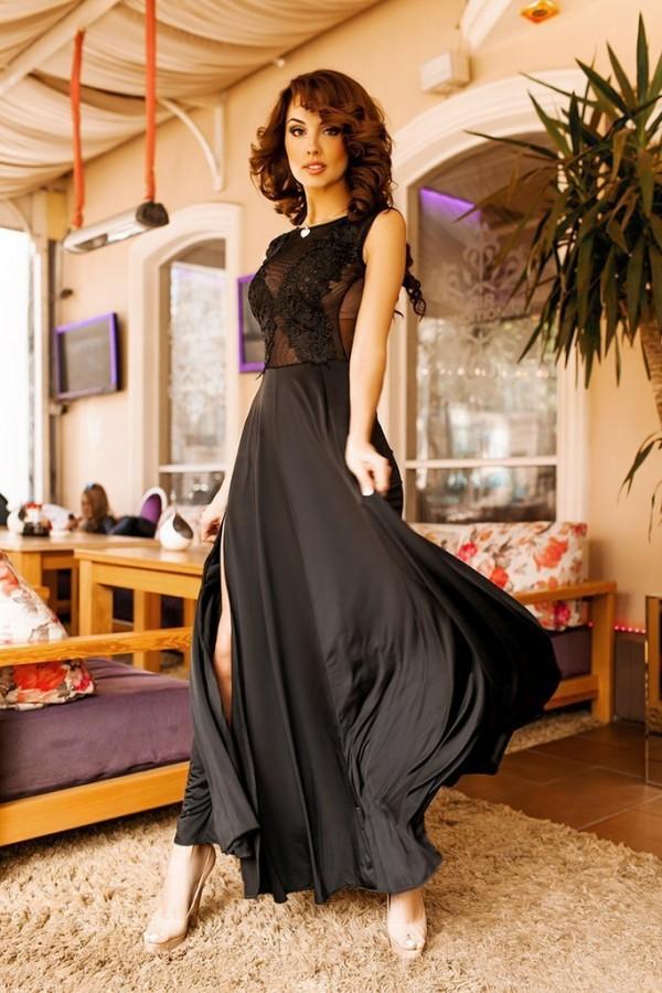 4c32833e441 Купить женское вечернее платье в пол черного цвета новой коллекции