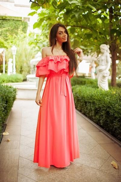 8e5fff6c3ac8767 Заказать коралловое платье в пол с открытыми плечами недорого