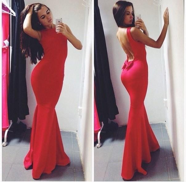 4b73a2d2b4b обворожительное красное платье в пол с подолом русалка и открытой спиной