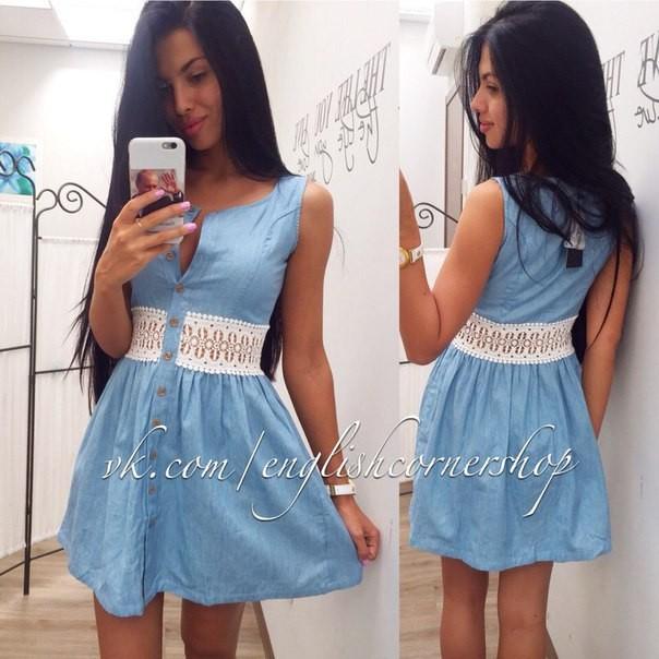 bd81a708124 Заказать голубое джинсовое платье с отделкой- поясом макроме на ...
