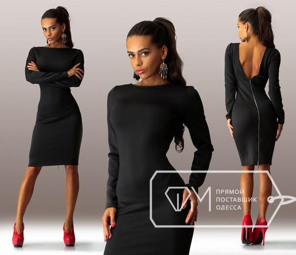 ba452d63408 коктейльное строгое черное короткое трикотажное платье с глубоким вырезом  на спине и со змейкой
