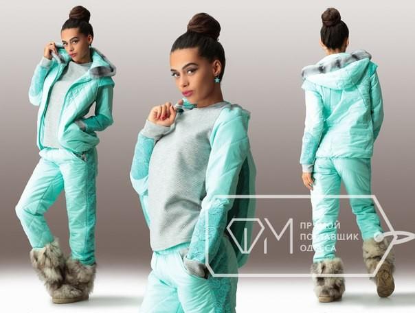 Купить спортивный женский утепленный костюм мятного цвета с ... cf08b94a66a