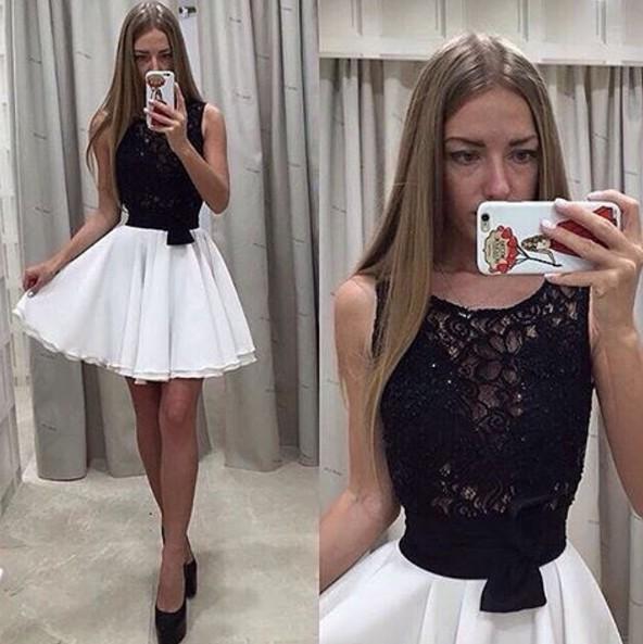 Черно-белое платье коктейльное