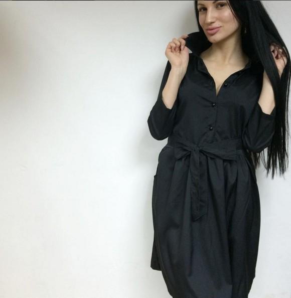 Черное Платье Рубашка Купить