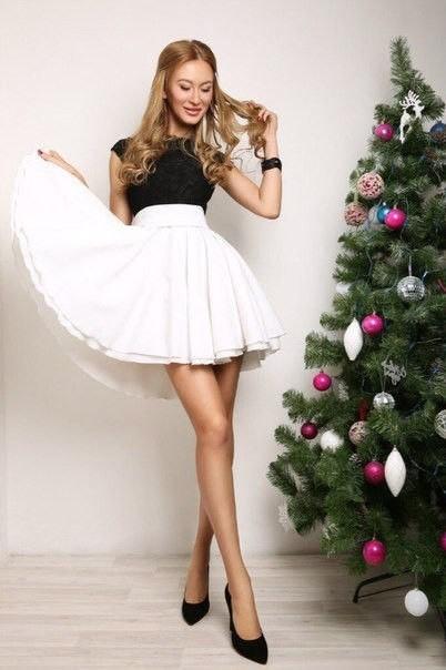 29337b5da15 Заказать чудесное черно-белое платье с двойной юбкой солнце-клеш по ...