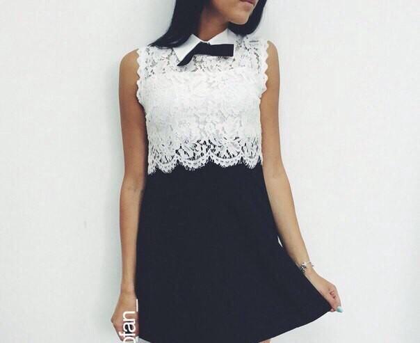 Платье черная юбка и белый верх