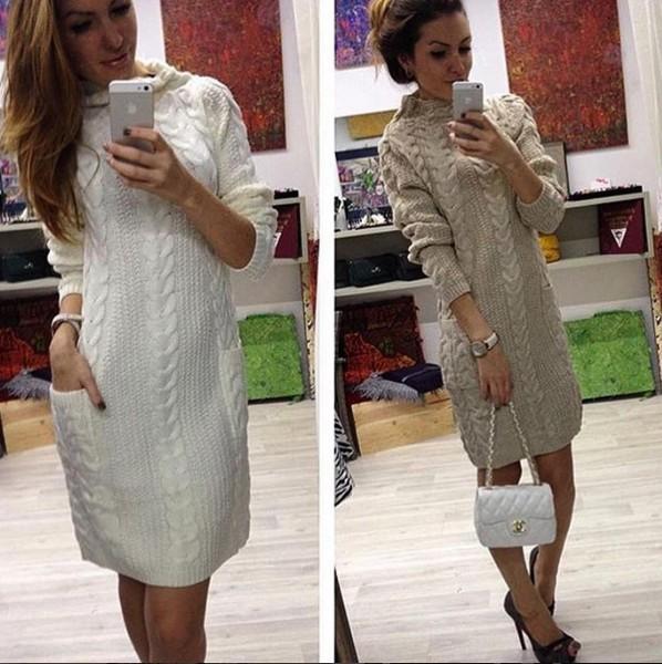640902a6e9f Купить красивое теплое вязаное платье-тунику светло-серого цвета ...