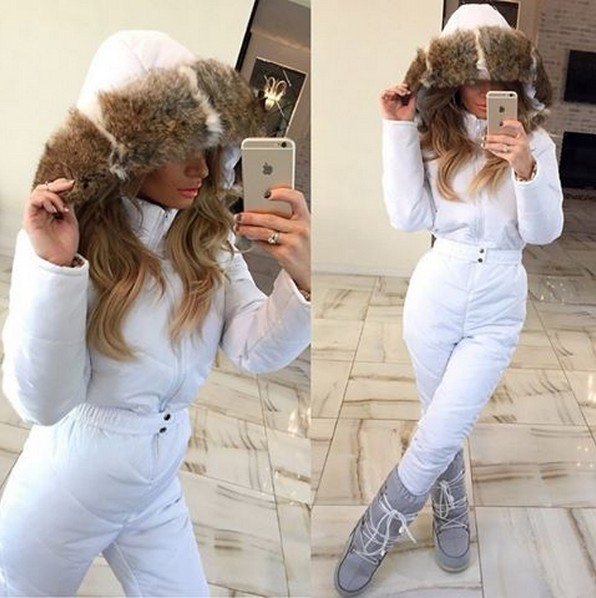 6b20bf4b популярный зимний комбинезон белого цвета мех натуральный кролик хит сезона