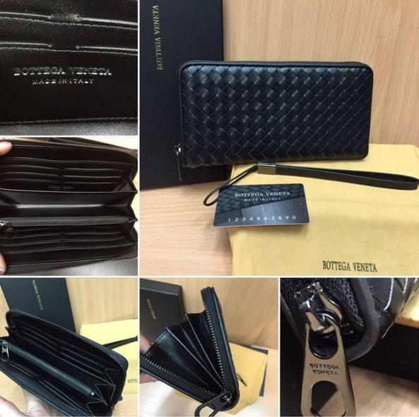584599987391 шикарный мужской кошелек BOTTEGA VENETA из натуральной кожи черного цвета!  хорошего качества