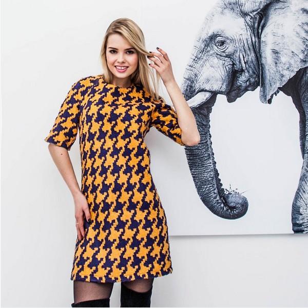 c996d7a1855 молодежное твидовое платье прямого кроя с оригинальным принтом весна-лето  2016