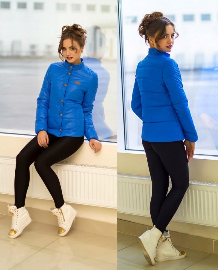 54046de054c Купить легкую весеннюю женскую куртку МИЛА синюю на кнопках по ...