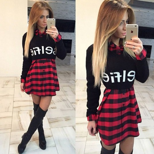 Платья в черно красную клетку фото