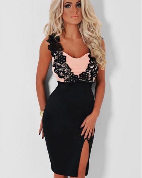 Платье гипюр розово черное