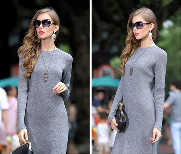 4c3999eaaa0 Заказать современное кашемировое платье серого цвета прямого покроя ...