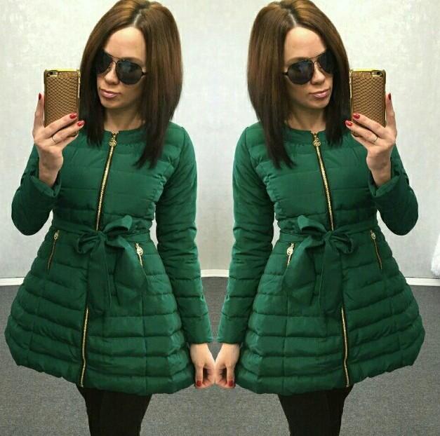 aaa648761e4 Заказать современную женскую куртку Колокольчик зеленую новинка 2016 ...