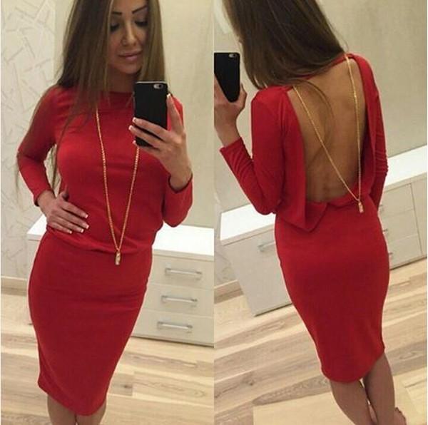 5100c367181c19f выразительное обтягивающее платье красного цвета с открытой спиной хорошего  качества