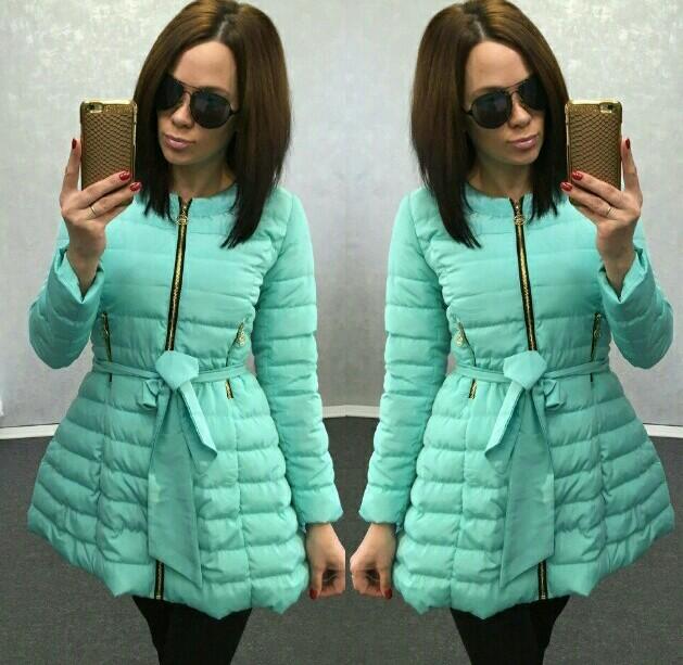 ece3cbe3a01 красивая молодежная куртка Колокольчик мятного цвета под пояс новинка 2016