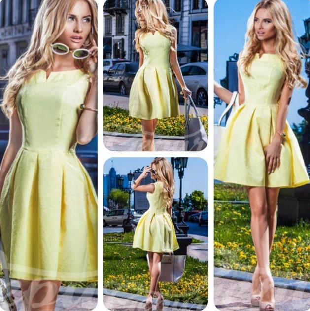Жёлтое платье с пышной юбкой