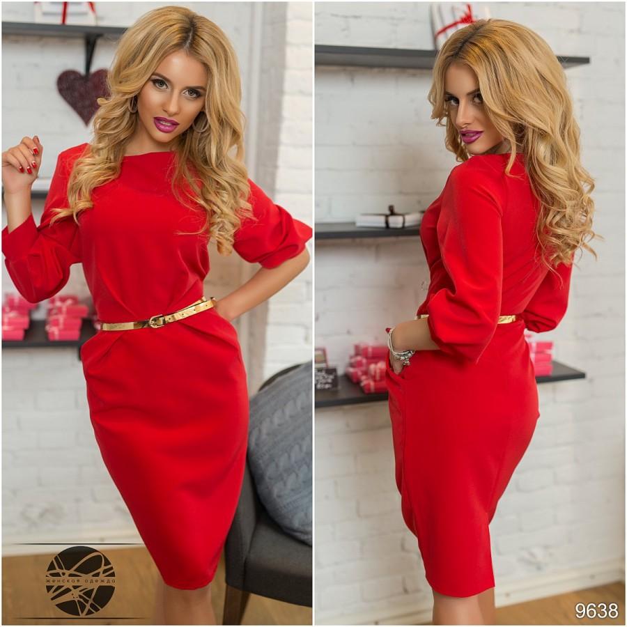 84523acea83 Купить деловое красное платье прямое ниже колен с карманами и ...