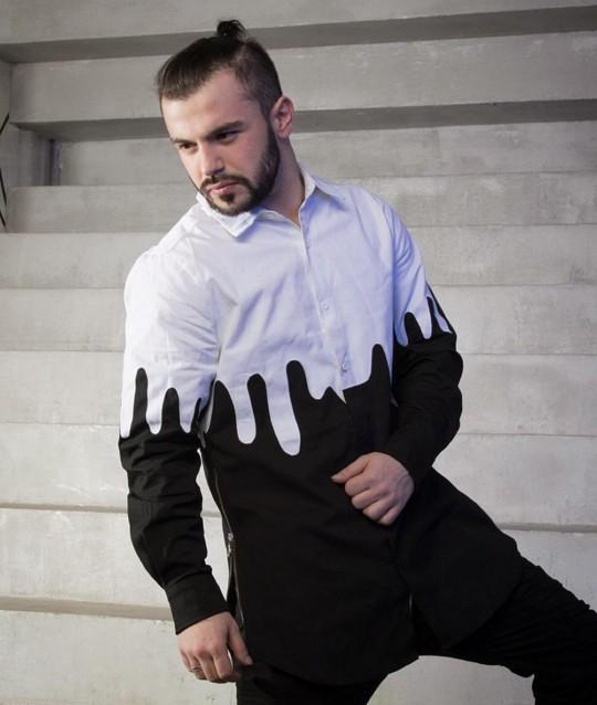 51a5de93daa7b4c удлиненная рубашка с молниями на боках в черно-белом цвете по доступной цене