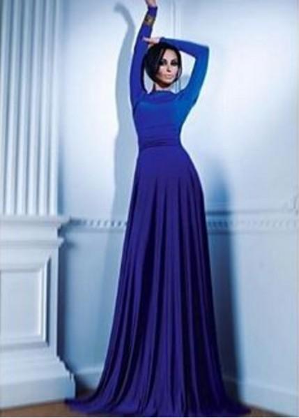 платья синего в пол цвета фото