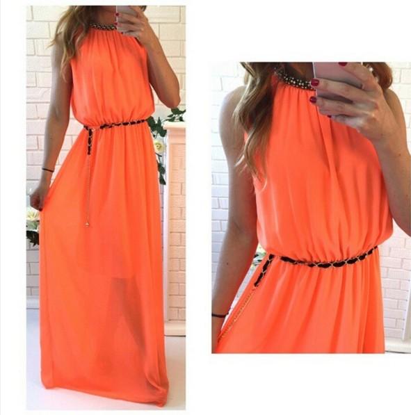 Купить платье в пол оранжевое