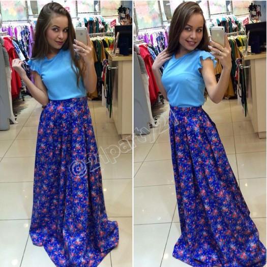 e48aebd8ecc Купить популярную юбку в пол синего цвета с цветочным принтом новая ...