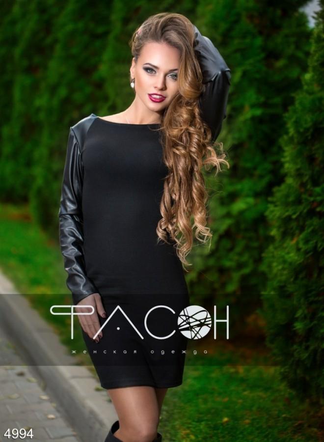 4377dfbc36c стильное платье черного цвета с кожаными вставками по доступной цене