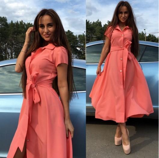 4a8b8c83503865f Заказать летнее платье на пуговицах ниже колен кораллового цвета ...