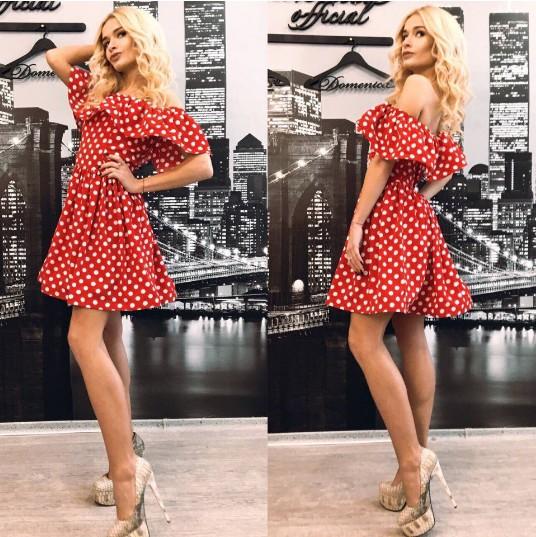 8c2e2e47387 Купить летнее платье красного цвета в белый горошек с воланом не ...