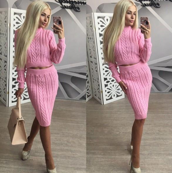 Купить вязаный костюм с юбкой розового цвета осень 2016 ...