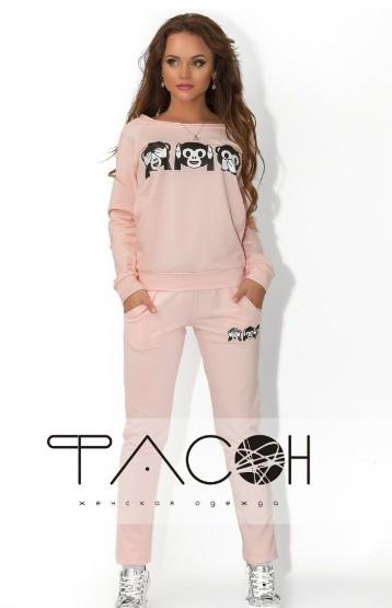e31cd48f спортивный костюм нежно-розового цвета с принтом-обезьянок по доступной цене