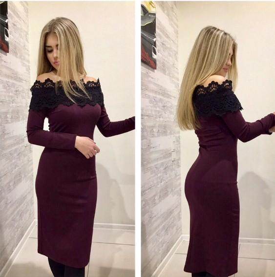 1addfdb29418db9 Купить обтягивающее платье цвета марсала с кружевной отделкой дешево ...