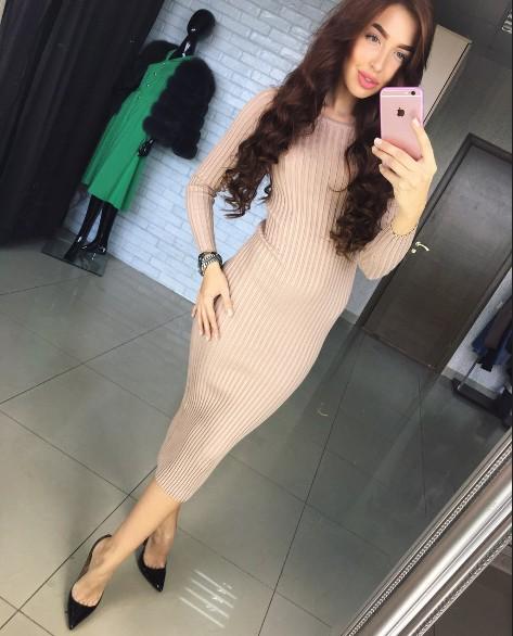 96082eb2fca Заказать теплое бежевое платье ниже колен с длинным рукавом дешево ...